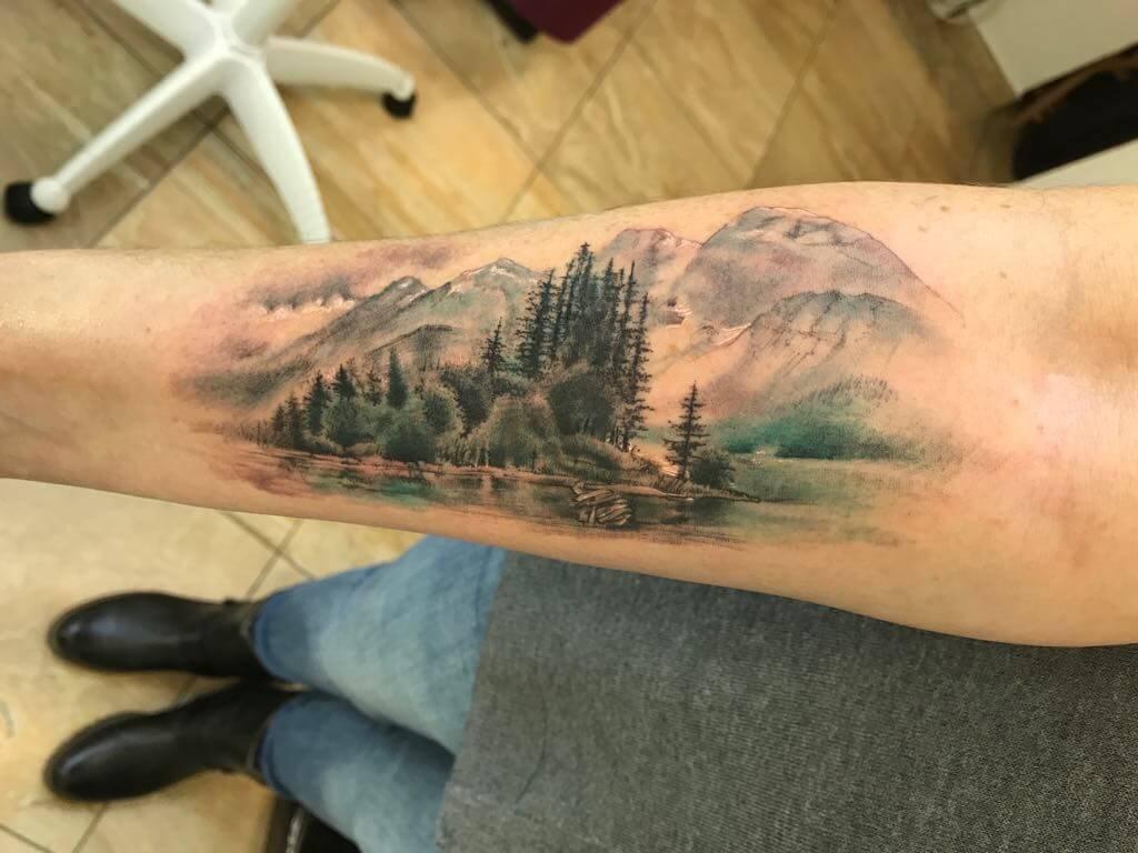 Ljubica Wild Spirit Hamen Aquarell Landschafts Tattoo