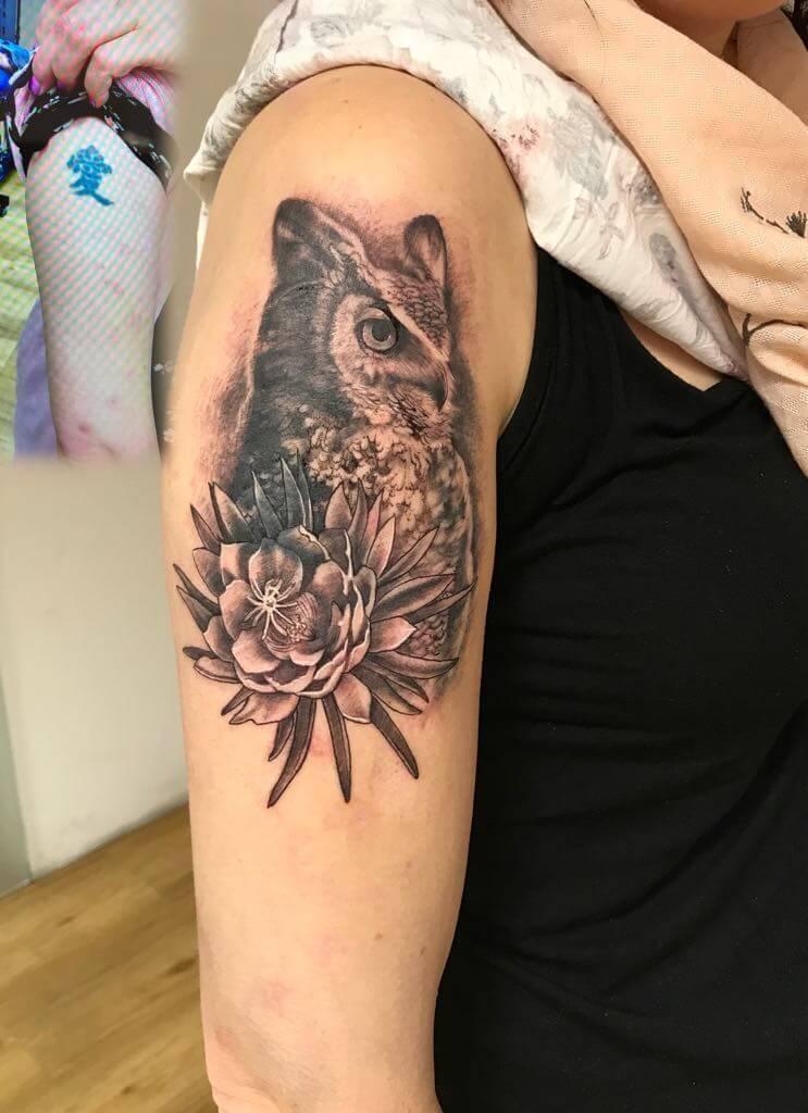 Ljubica Wild Spirit Hamen Eulen Tattoo
